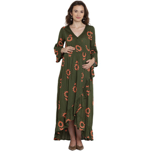 Dark Olive Green Wrap Maternity Dress w/ Floral Pattern, Made of Rayon- Mine4Nine