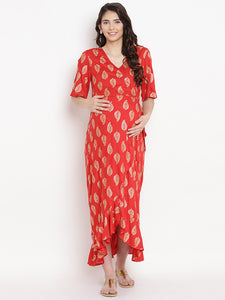 Rose Red Wrap Maternity Dress w/ a Leaf Print, Made of Rayon- Mine4Nine
