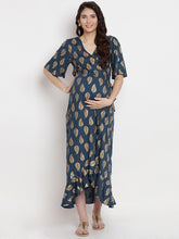 Load image into Gallery viewer, Teal Wrap Maternity Dress w/ Leaf Pattern Made of Rayon- Mine4Nine