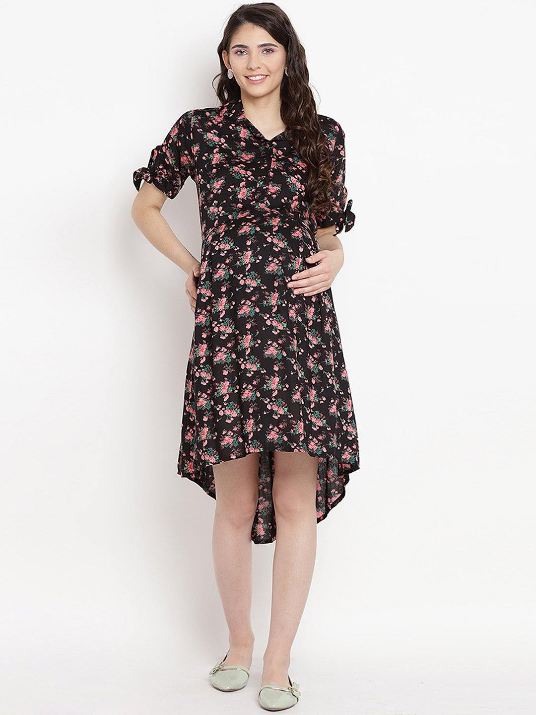 Black High-Low Maternity Dress w/ Floral Design, Made of Rayon- Mine4Nine