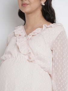 Mine4Nine - Dress - Light Peach Wrap Maxi Maternity Dress Made Of Chiffon & Lycra