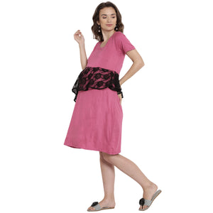 Magenta A-line Maternity Dress Made of Lycra- Mine4Nine