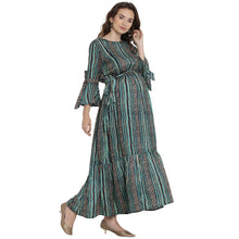 Load image into Gallery viewer, Light Sea Green Maxi Nursing Dress w/ Striped Design, Made of Rayon- Mine4Nine