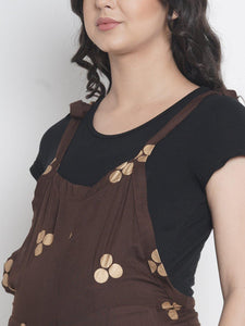 Mine4Nine - Dungaree - Chocolate Brown Regular Maternity Dungaree w/ Polka Dots, Made Of Rayon
