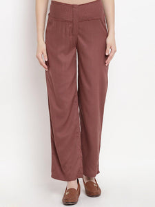 Brown Full Length Maternity Trouser Made of Rayon & Lycra- Mine4Nine