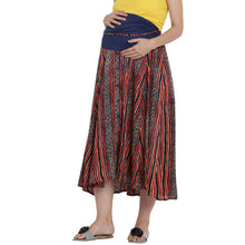 Load image into Gallery viewer, Firebrick Red Long Maternity Skirt w/ Striped Pattern, Made of Lycra/Rayon- Mine4Nine