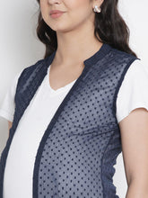 Load image into Gallery viewer, Mine4Nine - Shrug - Space Blue Straight Maternity Shrug w/ Leaf Print, Made of Georgette