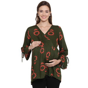 Dark Olive Green Drop Waist Maternity Top w/ Floral Pattern, Made of Rayon- Mine4Nine