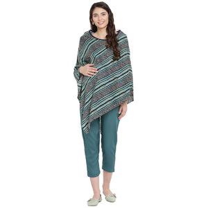 Purist Blue Kaftan Maternity Top w/ Striped Pattern Made of Rayon- Mine4Nine