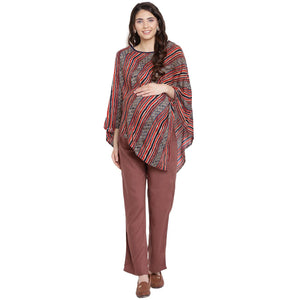Red Kaftan Maternity Top w/ Striped Pattern Made of Rayon- Mine4Nine