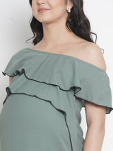 Load image into Gallery viewer, Mine4Nine - Top - Dark Sea Green Regular Fit Maternity Top Made of Synthetic