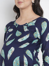 Load image into Gallery viewer, Mine4Nine - Top - Space Blue Regular Fit Maternity Top w/ Leaf Print, Made of Rayon