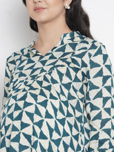 Load image into Gallery viewer, Mine4Nine - Top - Teal & White Regular Fit Maternity Top w/ Geometric Print, Made of Rayon