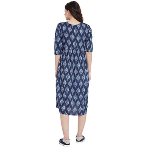 Midnight Blue Empire Waist Maternity Dress w/ Block Print, Made of Rayon- Mine4Nine