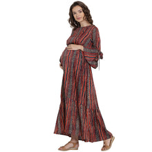 Load image into Gallery viewer, Mine4Nine Women's Red Maxi Rayon Maternity Dress