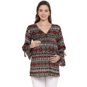 Multicolor Drop Waist Maternity Top w/ Geometric Pattern Made of Rayon- Mine4Nine