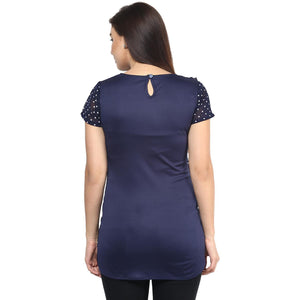Midnight Blue Wrap Maternity Top Made of Georgette