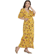 Load image into Gallery viewer, Very Yellow Maxi Maternity Dress w/ Floral Patterns, Made of Rayon- Mine4Nine