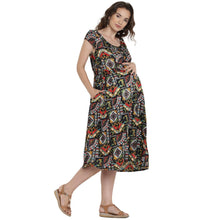 Load image into Gallery viewer, Black Fit & Flare Maternity Dress w/ Paisley Pattern, Made of Rayon- Mine4Nine