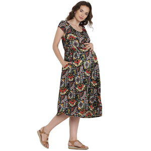 Black Fit & Flare Maternity Dress w/ Paisley Pattern, Made of Rayon- Mine4Nine