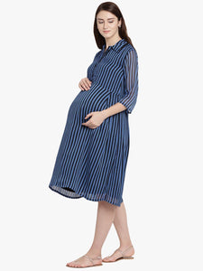 Mine4Nine - Dress - Midnight Blue A-line Maternity Dress w/ Striped Pattern, Made of Chiffon