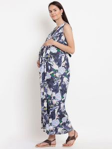 Steel Blue A-line Maternity Dress w/ Floral Pattern, Made of Rayon- Mine4Nine
