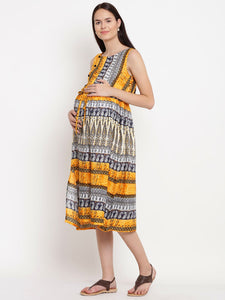 White & Gold A-line Maternity Dress w/ Panel Patterns, Made of Rayon- Mine4Nine