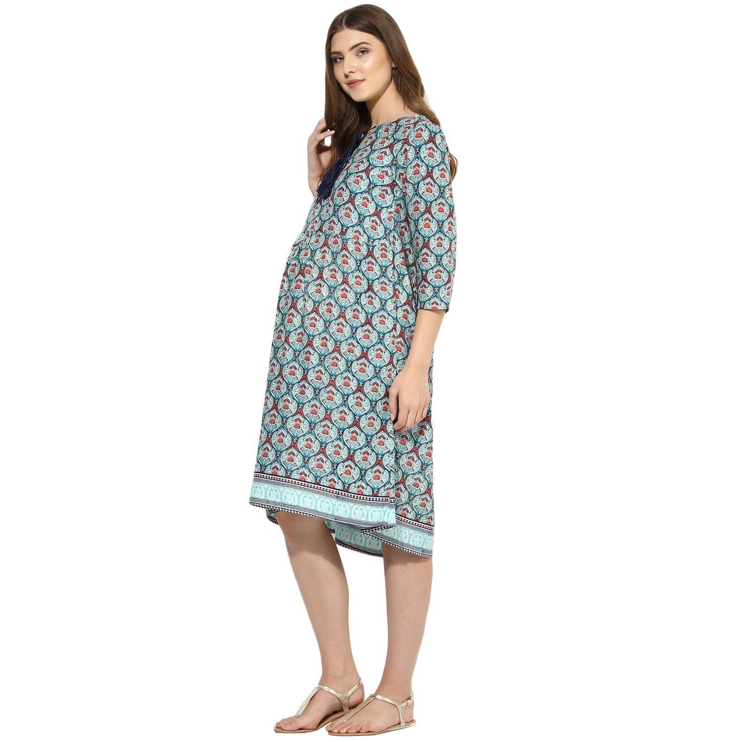Light Sea Green A-line Maternity Dress Made of Crepe- Mine4Nine