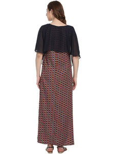 Brown A-line Maternity Dress w/ a Geometric Design, Made of Rayon- Mine4Nine