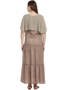 Beige A-line Maternity Dress Made of Rayon- Mine4Nine