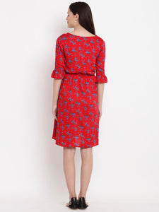 Red A-line Maternity Dress w/ Floral Pattern Made of Rayon- Mine4Nine