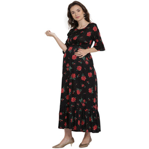 Black Maxi Maternity Dress w/ Floral Pattern, Made of Rayon- Mine4Nine