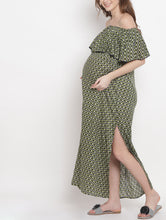 Load image into Gallery viewer, Dark Olive Green A-line Maternity Dress w/ Geometric Pattern Made of Rayon- Mine4Nine