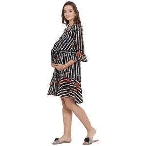 Black & White Fit & Flare Maternity Dress w/ Floral Pattern, Made of Georgette- Mine4Nine
