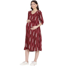 Load image into Gallery viewer, Maroon Empire Wait Maternity Dress w/ a Block Print, Made of Rayon- Mine4Nine