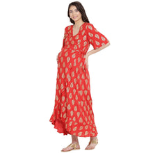 Load image into Gallery viewer, Rose Red Wrap Maternity Dress w/ a Leaf Print, Made of Rayon- Mine4Nine