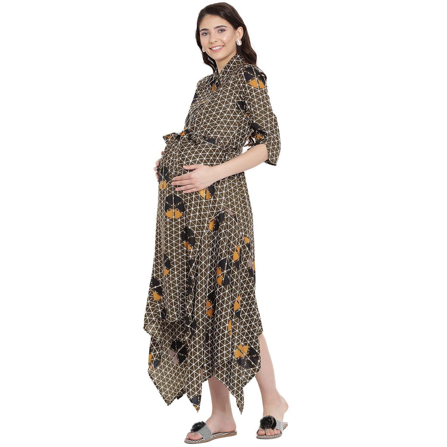 Olive Asymmetric Maternity Dress w/ Geometric Design, Made of Rayon- Mine4Nine