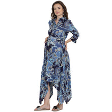Load image into Gallery viewer, Cornflower Blue Asymmetric Maternity Dress w/ a Paisley Design, Made of Rayon- Mine4Nine