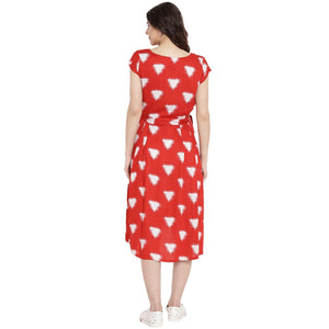 Firebrick Red Fit & Flare Maternity Dress Made of  Rayon- Mine4Nine