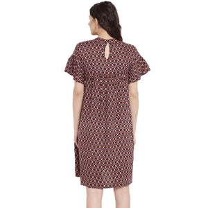 Brown Empire Waist Maternity Dress w/ a Geometric Design, Made of Rayon- Mine4Nine