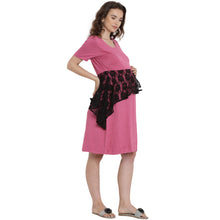 Load image into Gallery viewer, Magenta A-line Maternity Dress Made of Lycra- Mine4Nine