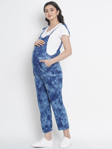 Mine4Nine - Dungaree - Royal Blue Regular Maternity Dungaree w/ Tie & Dye Print, Made Of Rayon