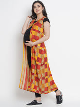 Load image into Gallery viewer, Mine4Nine - Shrug - Orange & Yellow Fit & Flare Maternity Shrug w/ Check Pattern, Made of Rayon