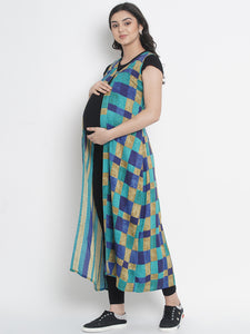 Mine4Nine - Shrug - Dark Cyan Fit & Flare Maxi Maternity Shrug w/ Check Pattern, Made of Rayon