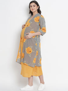 Mine4Nine - Dress - Gold Yellow Straight Maternity Dress w/ a Shrug, Made of Cotton & Georgette| Combo