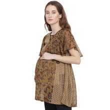 Load image into Gallery viewer, Khaki Ruffled Maternity Top w/ Floral Design, Made of Chiffon- Mine4Nine