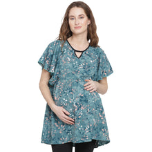Load image into Gallery viewer, Dark Cyan Regular Fit Maternity Top w/ Floral Pattern Made of Crepe- Mine4Nine