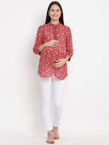Fire Brick Red Regular Fit Maternity Top w/ Floral Pattern, Made of Georgette- Mine4Nine