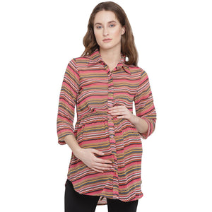 Indian Red Regular Fit Maternity Top w/ Graphic Pattern Made of Georgette- Mine4Nine