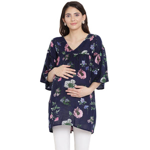 Blue Flame Empire Waist Maternity Top w/ Floral Pattern, Made of Rayon- Mine4Nine